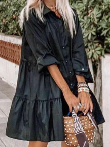 Casual Loose Pure Lapel Long sleeve Fastener Shift Dresses
