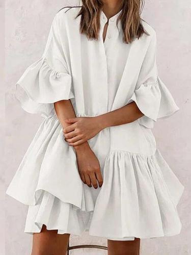 Fashion Casual Round neck Half sleeve Gored Falbala Shift Dresses