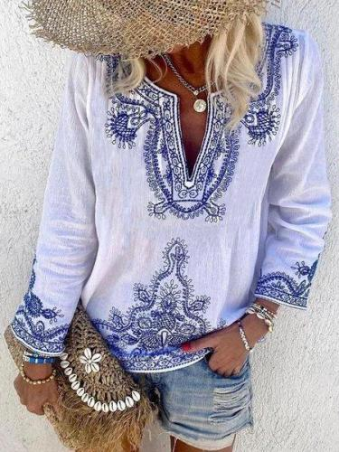 White V Neck Casual Shirts & Tops