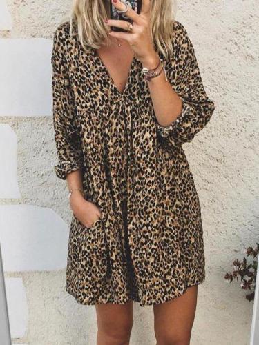 Leopard Leopard Print 3/4 Sleeve V Neck Dresses