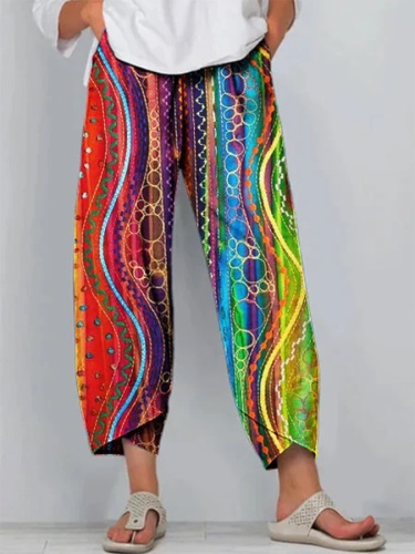 Multicolor Casual Printed Shift Abstract Pants