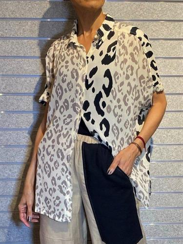 Black-White Shift Short Sleeve Floral Shirt Collar Shirts & Tops