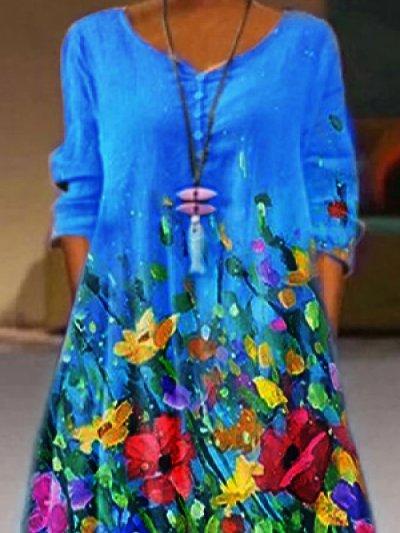 Casual Printed Floral 3/4 Sleeve Dresses