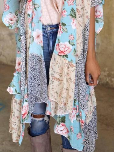 Floral 3/4 Sleeve Shift Outerwear