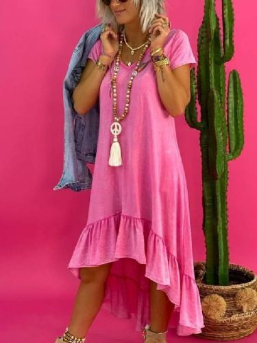 Plain Vintage Cotton-Blend Dresses