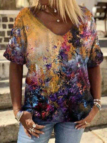 Casual loose floral print short-sleeved top