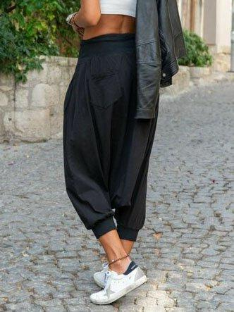 Black Casual Solid Cotton-Blend Pants
