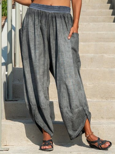 Gray Pockets Casual Cotton-Blend Pants