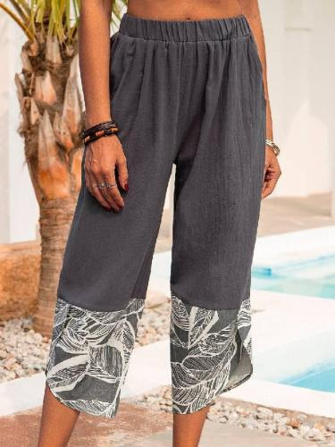 Casual Cotton Leaves Pants