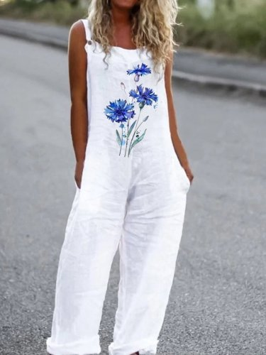 White Casual Printed Floral Cotton-Blend One-Pieces