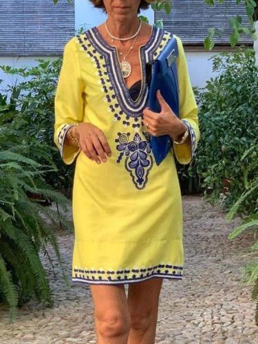 Floral-Print Long Sleeve V Neck Dresses