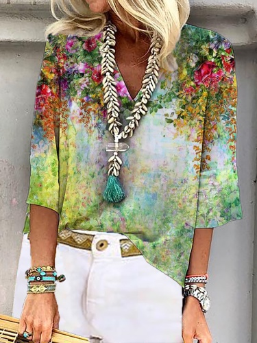 Plus size Floral V Neck Shirts & Tops