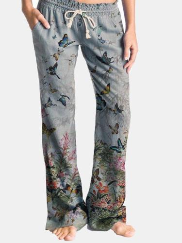 Butterfly Flower Print Drawstring Elastic Waist Casual Pants For Women