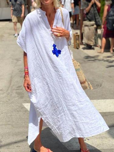 White Plain Short Sleeve Maxi Linen Dresses