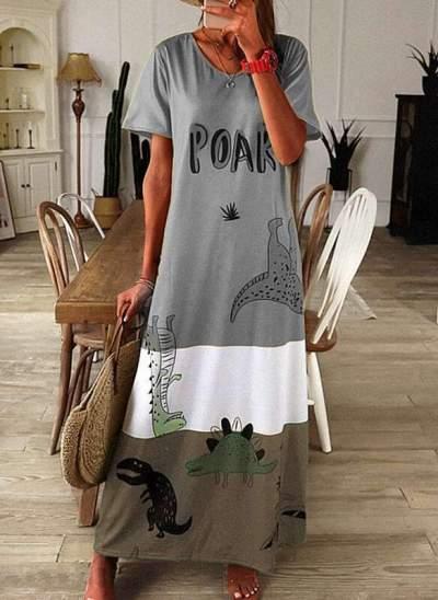 Casual Loose Animal print Round neck Short sleeve Maxi Dresses