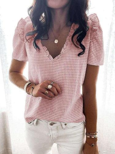 Fashion Plaid print V nwxk Short sleeve Shirt