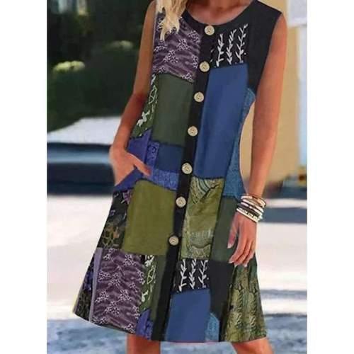 Casual Retro print Fastener Round neck Sleeveless Shift Dresses