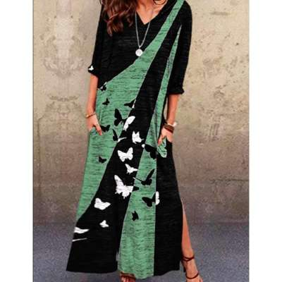 Casual Butterfly print V neck Long sleeve Maxi Dresses