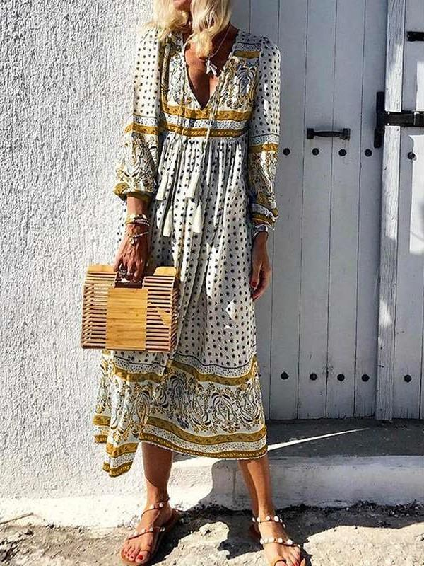 Casual Print V neck Long sleeve Maxi Dresses