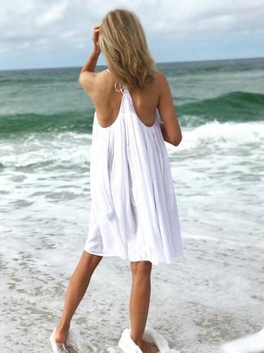 Pure Sleeveless Round neck Vest Shift Dresses
