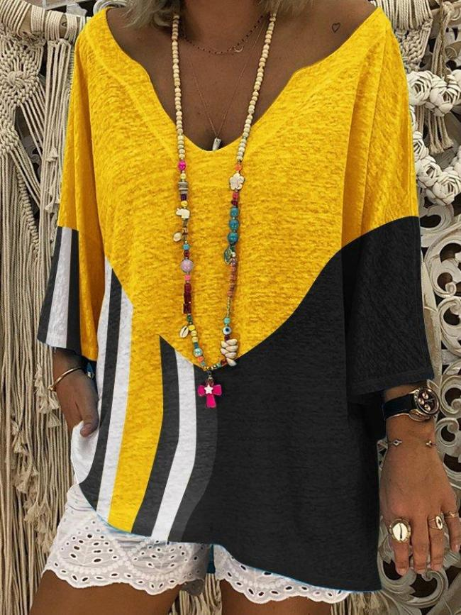 Color-Block Casual T-Shirt & Blouse