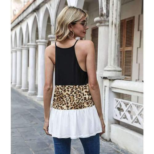 Fashion Sexy Hollow Leopard print Gored Sleeveless T-Shirts
