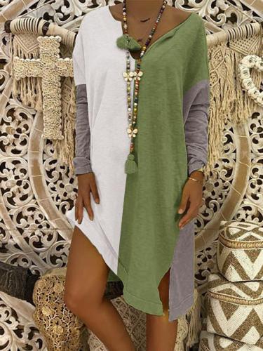Outdoor Color-Block Shift Cotton-Blend Dresses