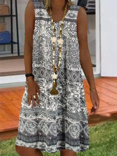 As Picture Casual Tribal Sleeveless Dresses