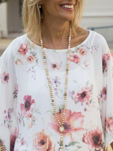 White Half Sleeve Floral Crew Neck Casual Shirts & Tops
