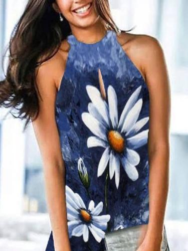 Vintage Sleeveless Printed Dresses