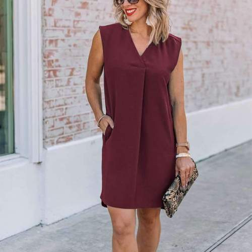 Casual Pure V neck Sleeveless Sleeveless Shift Dresses