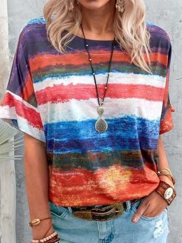 Casual Stripe Round neck Short sleeve T-Shirts