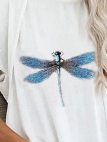 Vintage Short Sleeve Statement Dragonfly Printed Crew Neck Plus Size Casual Tops