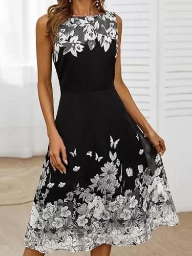 Black Floral-Print Floral Sleeveless Dresses