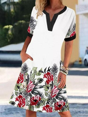 Leaf Short Sleeve A-Line Printed Dresses