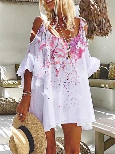 White Floral V Neck Printed Cold Shoulder Dresses