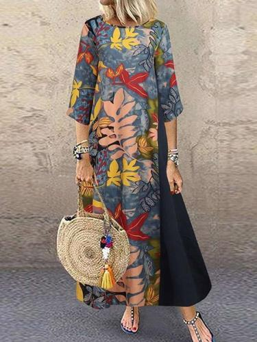 3/4 Sleeve Casual Printed Maxi Dresses