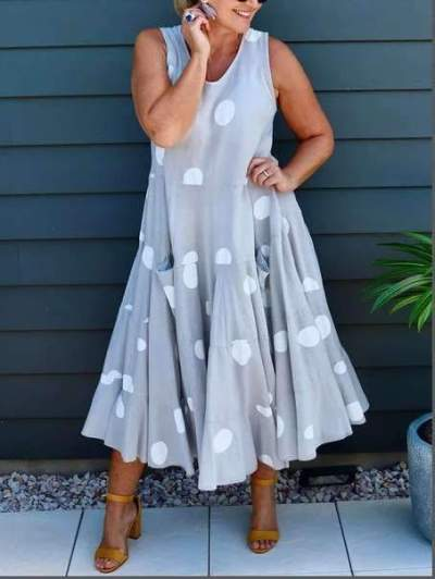 Casual Loose Point print Round neck Sleeveless Maxi Dresses