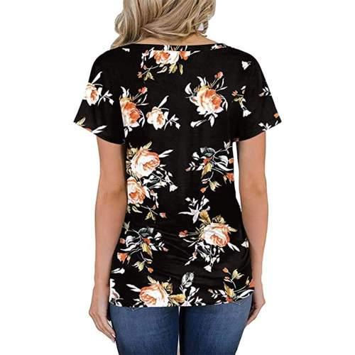 Fashion Floral print V neck Short sleeve T-Shirts