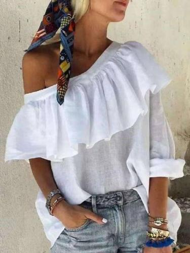 Casual Pure Falbala One shoulder Single sleeve T-Shirts