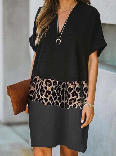 Casual Loose Leopard print Gored V neck Short sleeve Shift Dresses