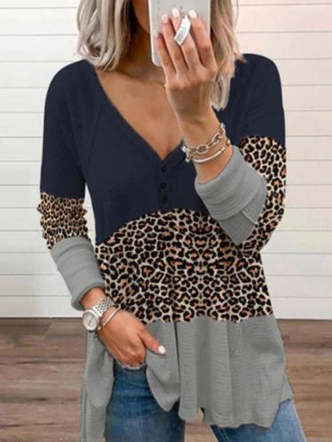 Long Sleeve Paneled Leopard Shirts & Tops