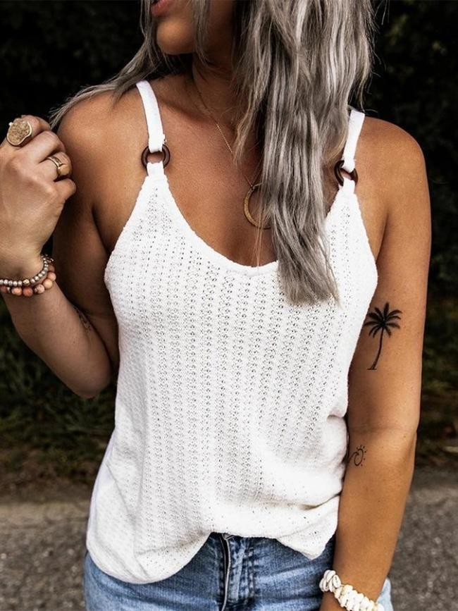 White Casual Shift Spaghetti Shirts & Tops