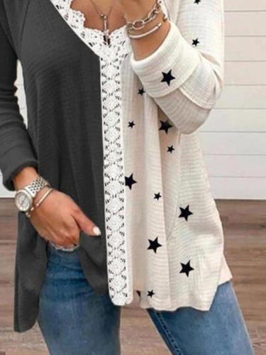Deep Gray Color-Block Long Sleeve Shift V Neck Shirts & Tops