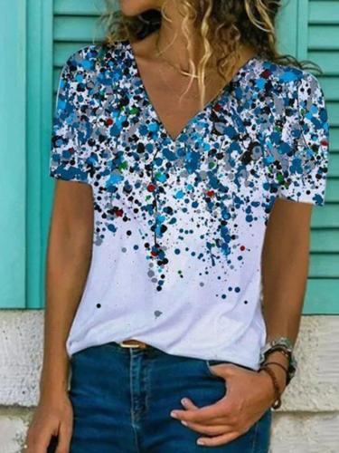 Blue Casual V Neck Short Sleeve Tops