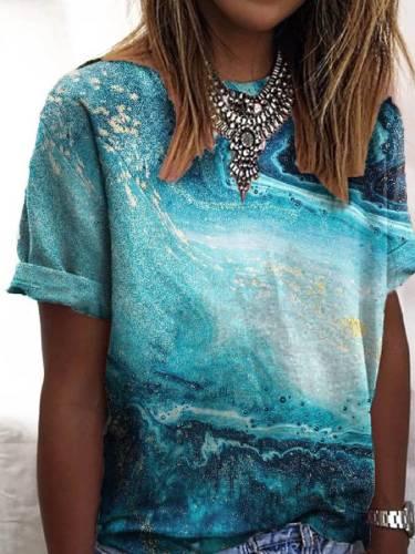 Blue Abstract Short Sleeve Cotton-Blend T-shirt