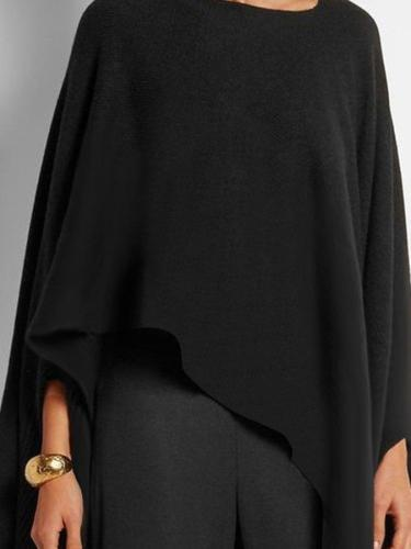 Black Crew Neck Batwing High Low Shirts & Tops