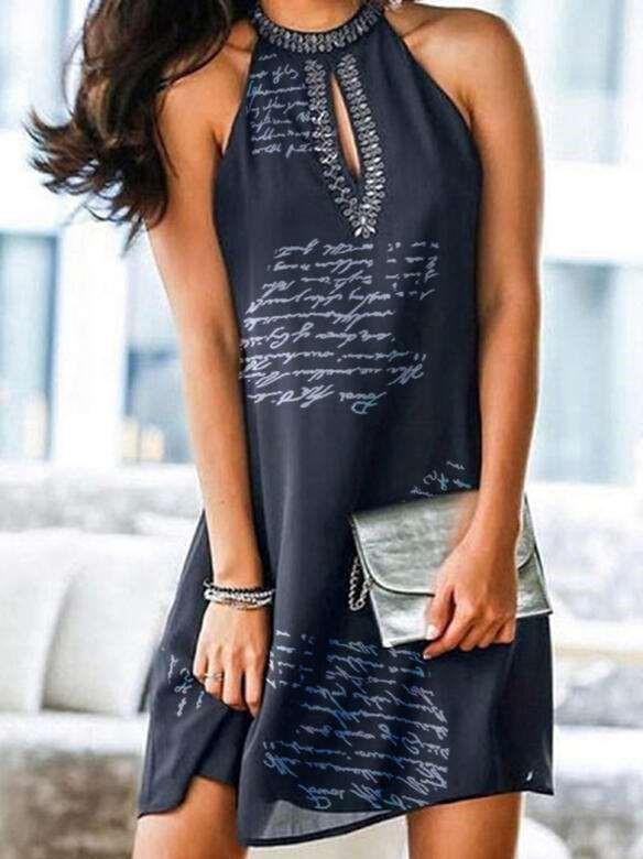Fashion Word print Round neck Sleeveless Shift Dresses