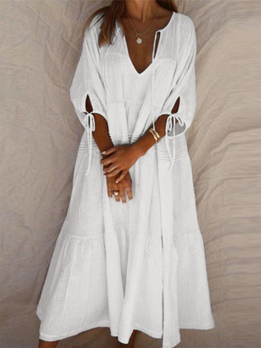Half Sleeve V Neck Linen Slit Dress