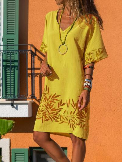 Casual Cotton-Blend V Neck Dresses